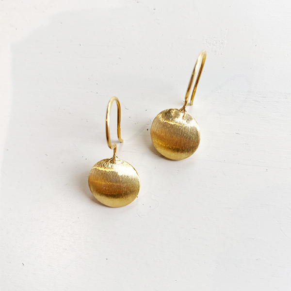 BRUSHED GOLD DROP EARRINGS