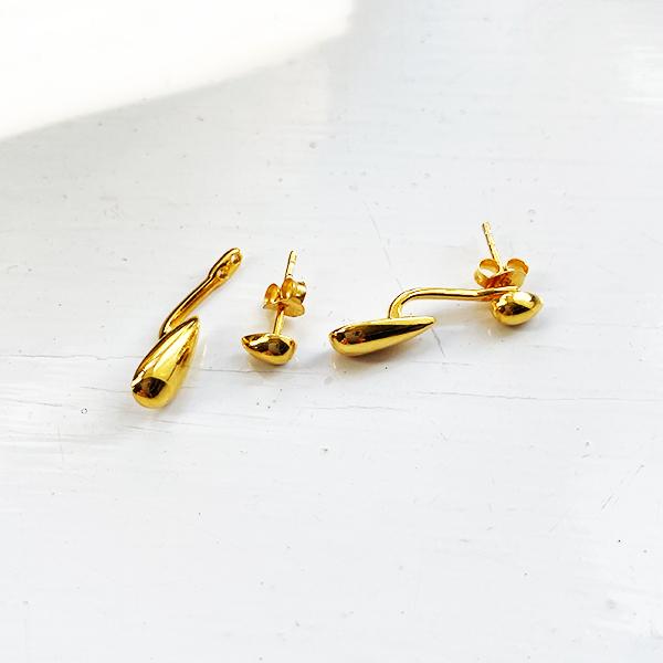 KSE-50 GOLD DROP BACK TEARDROP EARRINGS