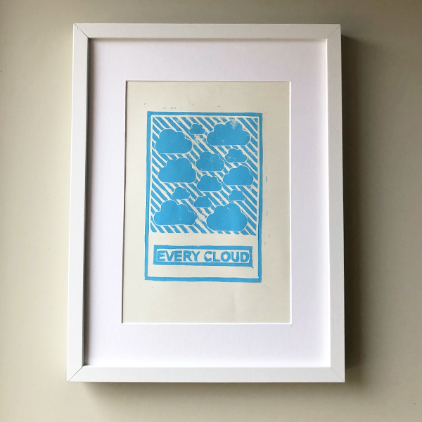 EVERY CLOUD LINO & INK PRINT A4 FRAMED