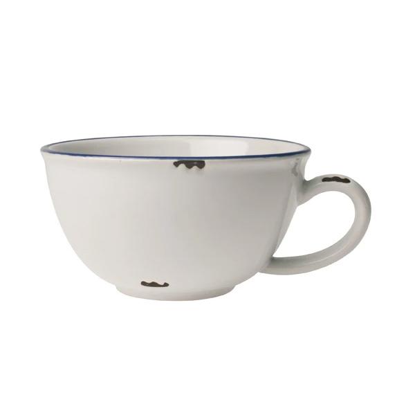 TINWARE LOOK LATTE CUP BLUE RIM