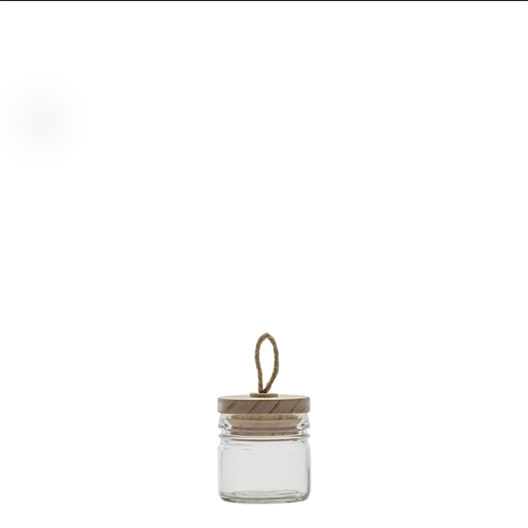 LITTLE GLASS JAR WITH LID AND HOOP