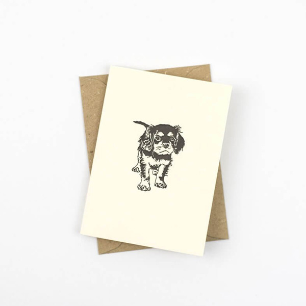 SMALL CAVALIER KING CHARLES SPANIEL PUPPY NOTE CARD