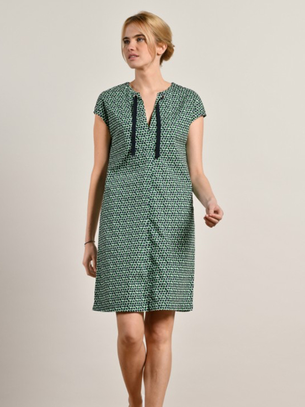 MAT DE MISAINE RIVELA GREEN AND NAVY PRINT COTTON DRESS {was £129}