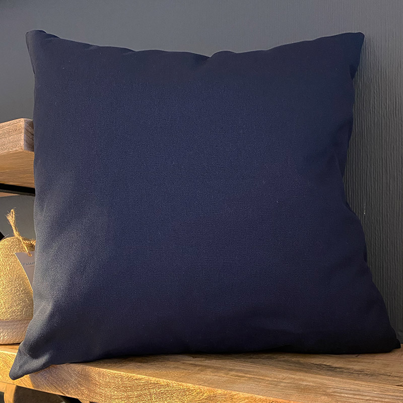 NAVY COTTON CUSHION 50 X 50 {was £40}