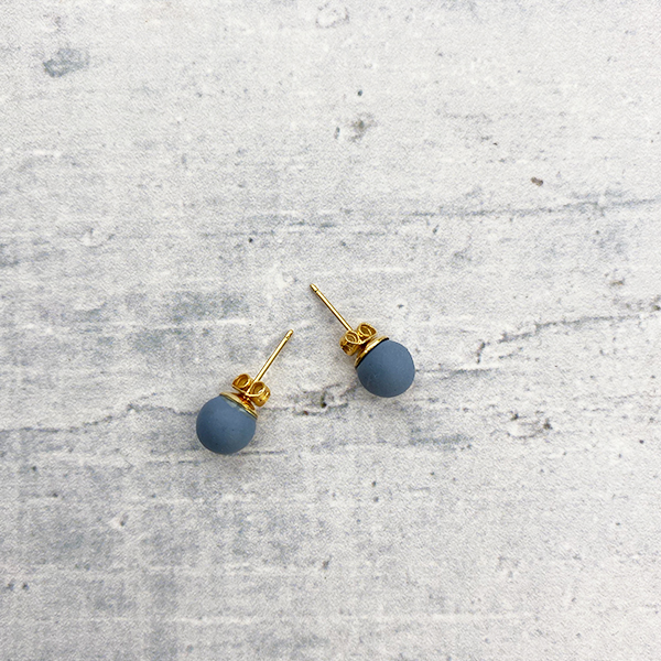 COCOA & GOLD TEAL BLUE STUD EARRINGS