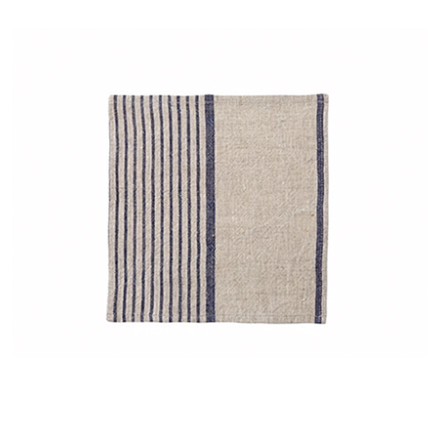 LINEN STRIPE NATURAL AND BLUE NAPKIN