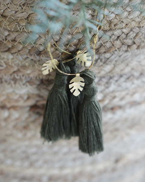 OLIVE GREEN AND GOLD TASSEL DECORATION