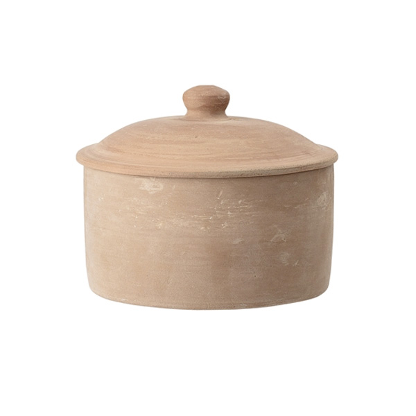 TERRACOTTA POT LOW WITH LID