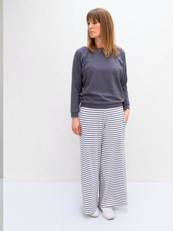 CHALK WIDE LEG LUNA LOUNGE PANTS STRIPED WHITE AND CHARCOAL