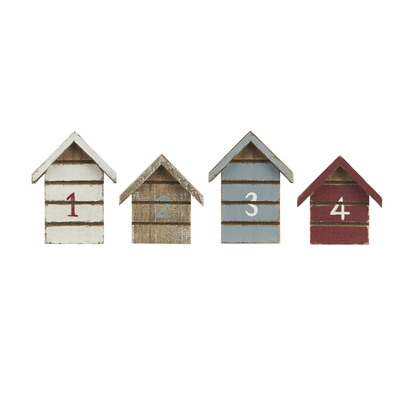 LITTLE WOODEN HOUSES SET OF FOUR