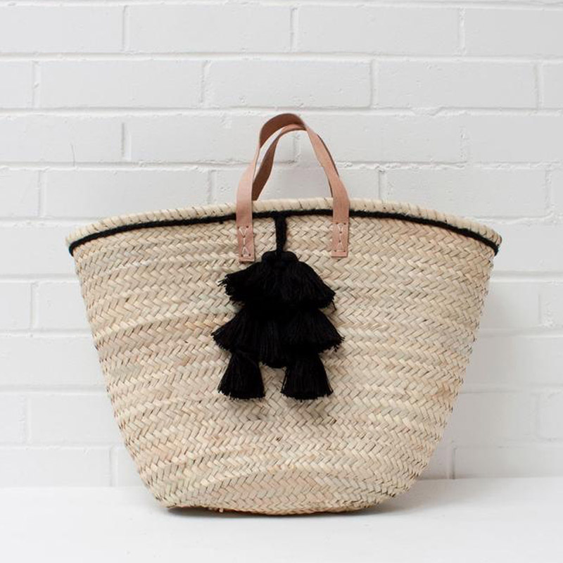 TASSEL WOVEN BASKET BLACK {was £46}