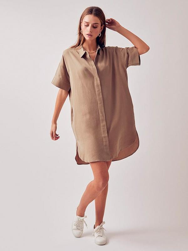 LOUNGE NINE TUNIC SHIRT DRESS BEECH