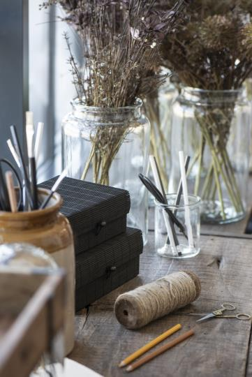 SET OF TWO BLACK BAMBOO BOXES {was £12}