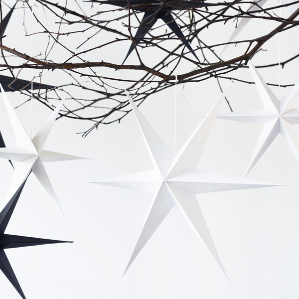 WHITE PAPER STAR DECORATION PACK OF TWO