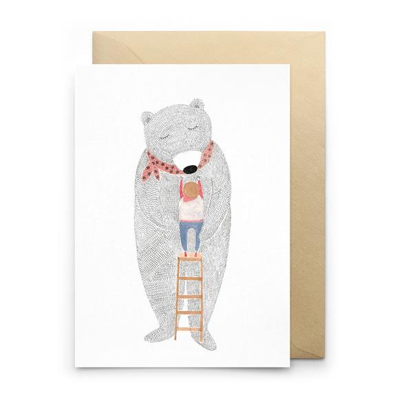 BEAR & LADDER GREETINGS CARD