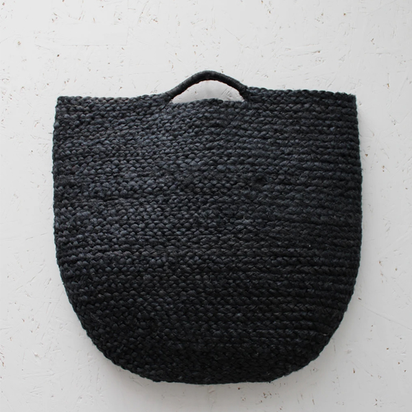 JUTE BLACK BASKET WITH TWIST HANDLES LARGE