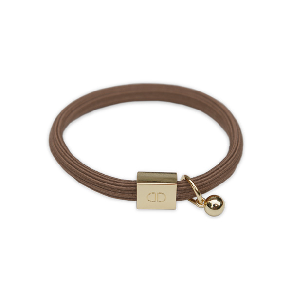 BROWN ELASTIC BRACELET WITH GOLD