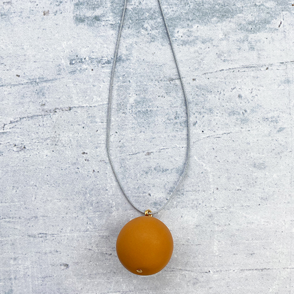 COCOA & GOLD SINGLE BALL NECKLACE TERRACOTTA