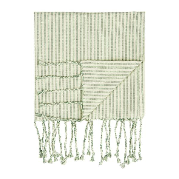 GREEN STRIPE HAMMAM TOWEL WITH FRINGE