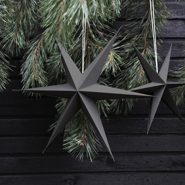 DARK GREY PAPER STAR DECORATION PACK OF TWO