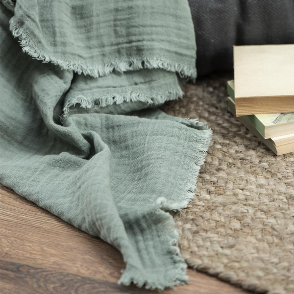 THROW/TABLE CLOTH DOUBLE WEAVE DUSTY GREEN