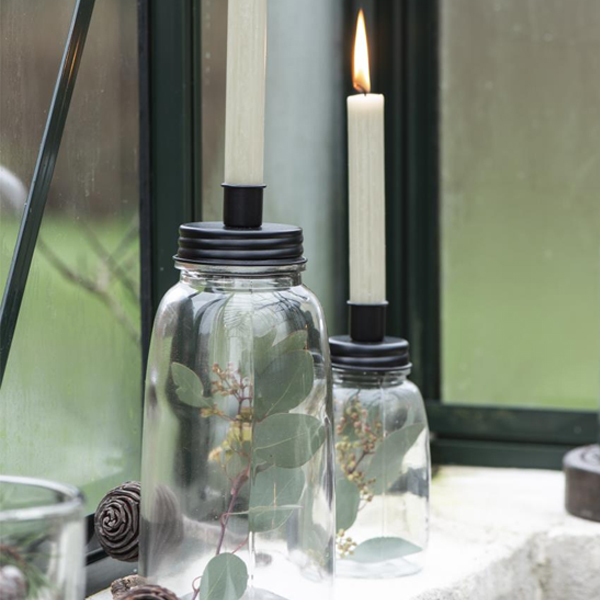 SMALL GLASS AND METAL CANDLE HOLDER BOTTLE