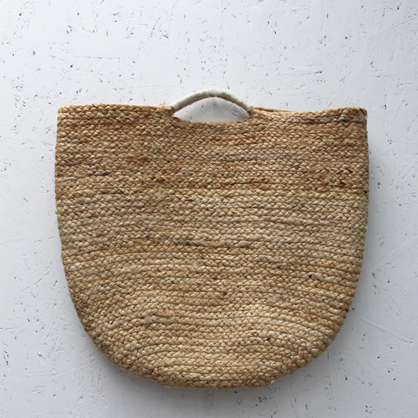 JUTE NATURAL BASKET WITH TWISTED HANDLES LARGE