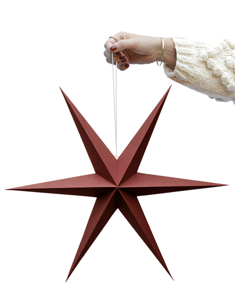 DARK RED PAPER STAR DECORATION PACK OF TWO