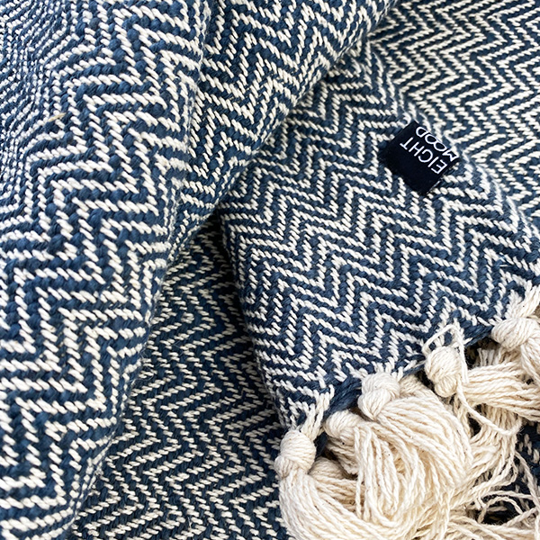 HERRINGBONE THROW VINTAGE INDIGO