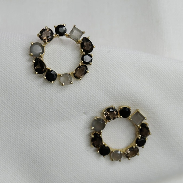 BUSI STUD RING EARRINGS WITH STONES