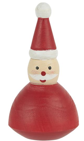 TINY WOODEN SANTA HAND PAINTED RED