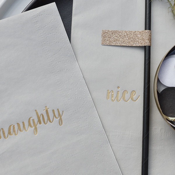 GREY & GOLD NAUGHTY AND NICE PAPER NAPKINS