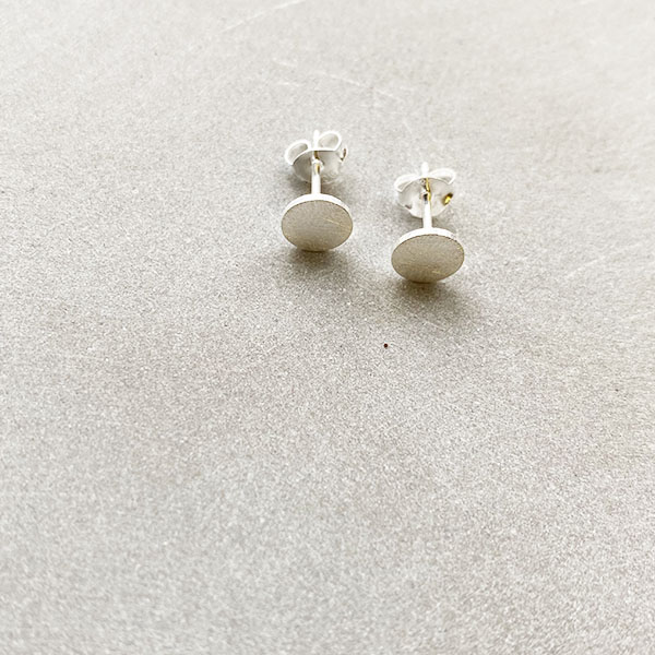 TINY BRUSHED SILVER CIRCLE STUD EARRINGS