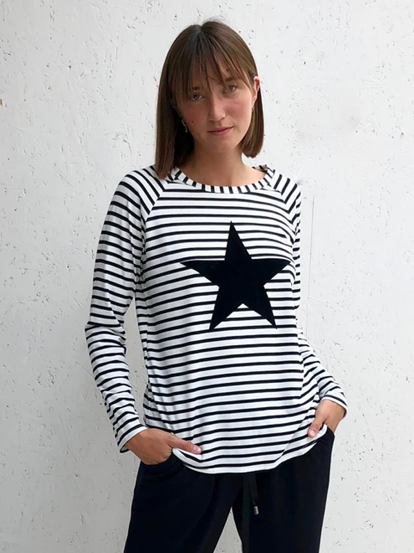 CHALK TASHA BLACK STRIPE TOP WITH BLACK STAR DETAIL