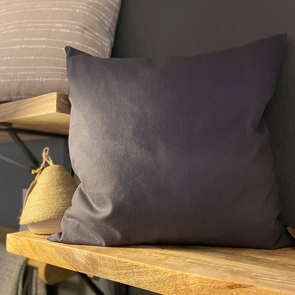 CHARCOAL GREY CUSHION COTTON 50X50 {was £40}