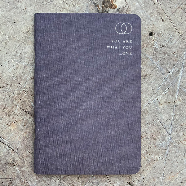 """LINEN COVERED MEMO NOTEBOOK """"YOU ARE WHAT YOU..."""" {was £8}"""
