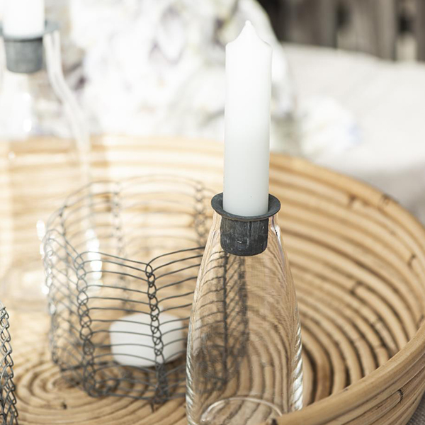 CANDLE HOLDER BOTTLE WITH METAL LID SMALL