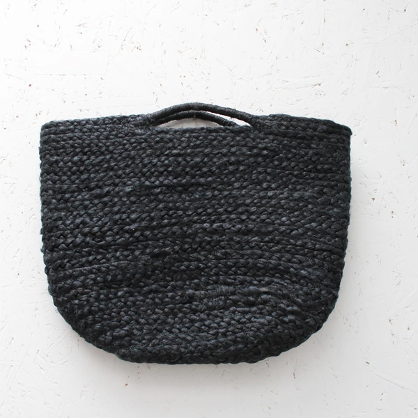 JUTE BLACK BASKET WITH TWIST HANDLES SMALL