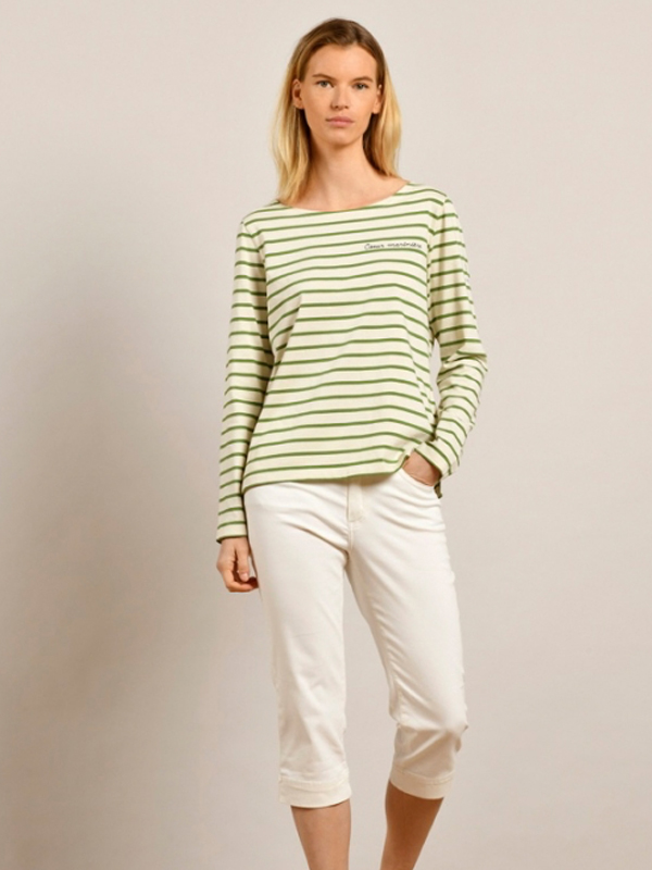 MAT DE MISAINE VENTDEST STRIPED ORGANIC TOP GREEN