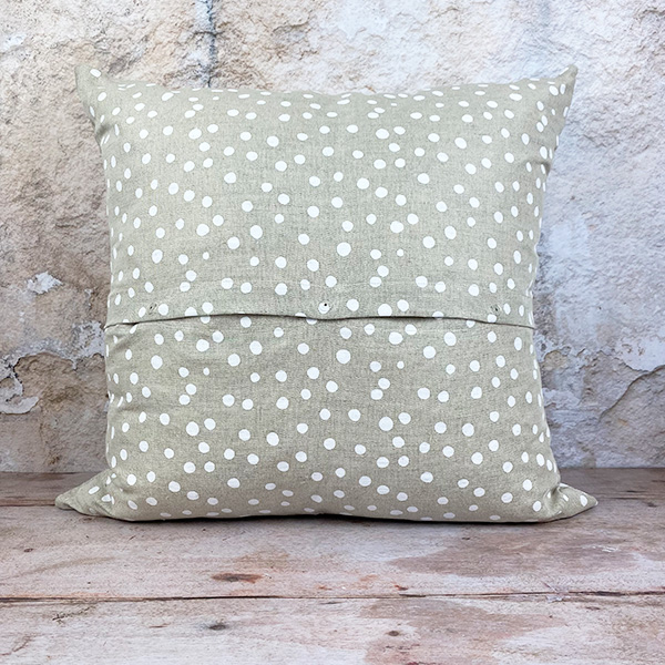 WHITE DOTTIE LINEN AND COTTON CUSHION WITH FEATHER INNER 55X55