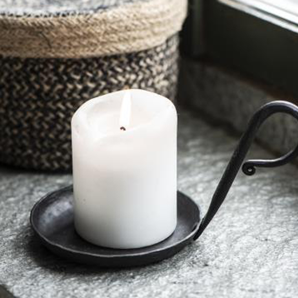 BLACK METAL CANDLE HOLDER FOR PILLAR CANDLE