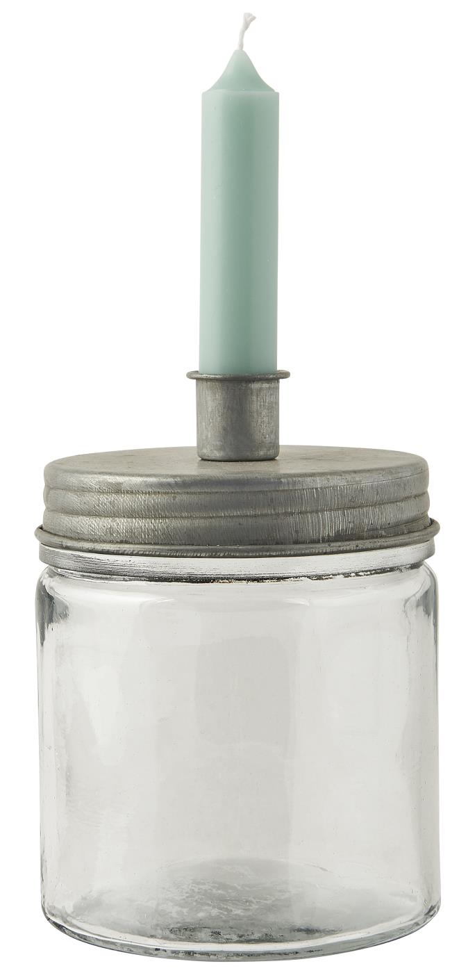 METAL AND GLASS CANDLE HOLDER WITH STORAGE JAR
