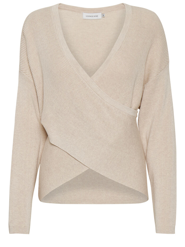 LOUNGE NINE MALLORY KNIT CROSS PULLOVER PARCHMENT