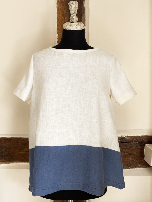 TUSK TWO TONE BLUE A LINE TOP WHITE & DARK HAZE {was £75}