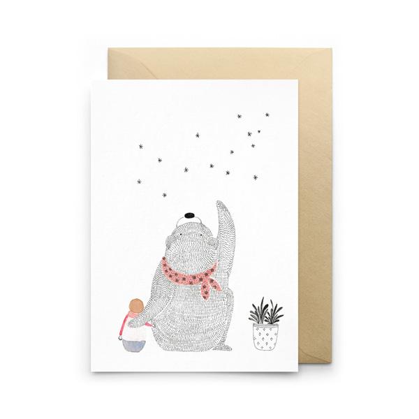 BEAR & STARS GREETINGS CARD