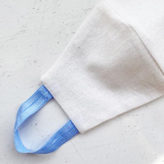 WHITE & SKY BLUE STRAPS REUSABLE COTTON LINEN FACE MASK