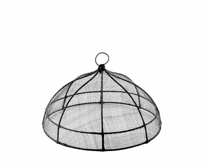 BLACK LINEN WOVEN FOOD COVER DOME