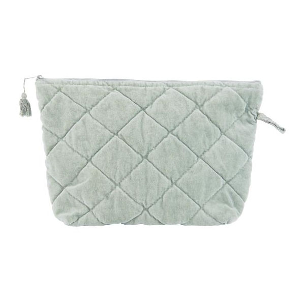 MINT GREEN ZIP WASH BAG VELVET