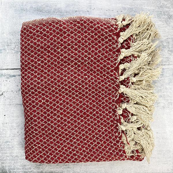RED & CREAM COTTON THROW
