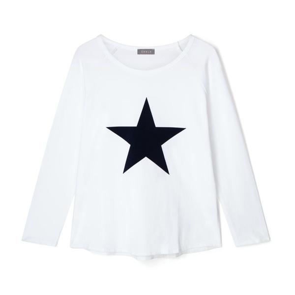 TASHA TOP WHITE WITH NAVY FLOCK STAR